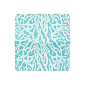 Beach Coral Reef Pattern Nautical White Blue Checkbook Cover