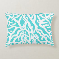 Beach Coral Reef Pattern Nautical White Blue Decorative Pillow