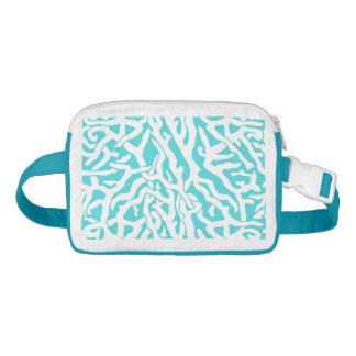 Beach Coral Reef Pattern Nautical White Blue Nylon Fanny Pack