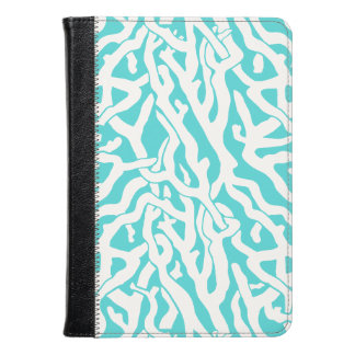 Beach Coral Reef Pattern Nautical White Blue Kindle Case