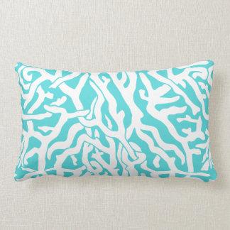 Beach Coral Reef Pattern Nautical White Blue Lumbar Pillow