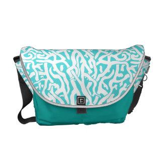 Beach Coral Reef Pattern Nautical White Blue Messenger Bags