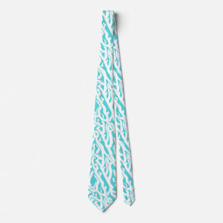 Beach Coral Reef Pattern Nautical White Blue Neck Tie