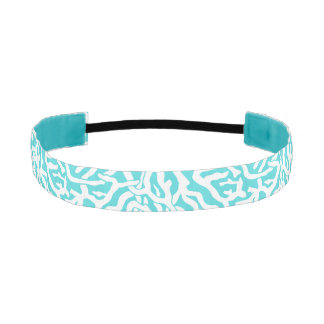 Beach Coral Reef Pattern Nautical White Blue Athletic Headbands