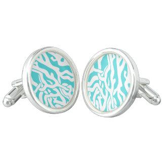 Beach Coral Reef Pattern Nautical White Blue Cufflinks