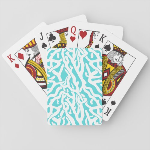 Beach Coral Reef Pattern Nautical White Blue Playing Cards