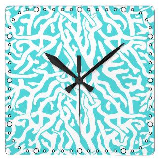 Beach Coral Reef Pattern Nautical White Blue Square Wall Clock