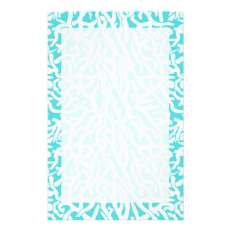 Beach Coral Reef Pattern Nautical White Blue Stationery