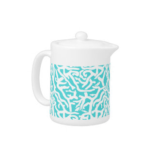 Beach Coral Reef Pattern Nautical White Blue Teapot