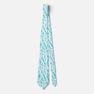 Beach Coral Reef Pattern Nautical White Blue Tie