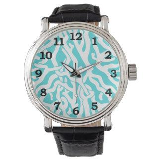 Beach Coral Reef Pattern Nautical White Blue Watch