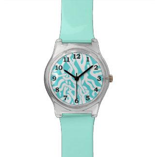 Beach Coral Reef Pattern Nautical White Blue Wrist Watch