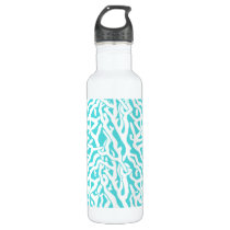 Beach Coral Reef Pattern Nautical White Blue Water Bottle