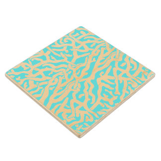 Beach Coral Reef Pattern Nautical White Blue Wooden Coaster