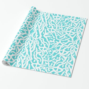 Beach Themed Beach Coral Reef Pattern Nautical White Blue Wrapping Paper