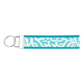 Beach Coral Reef Pattern Nautical White Blue Wrist Keychain