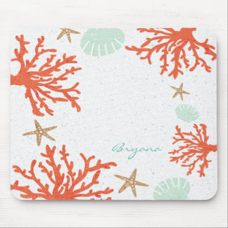 Beach Coral Reef Sea Shell & Starfish Mouse Pad
