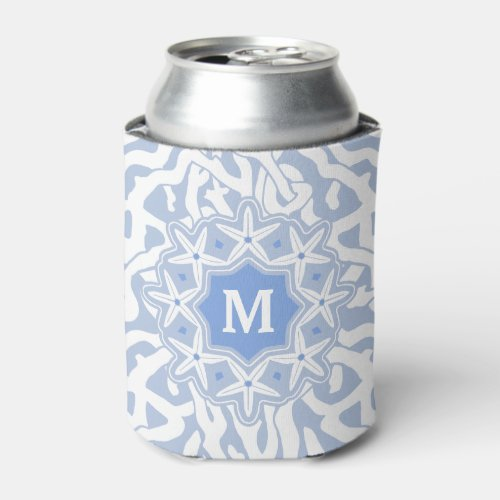 Beach Coral Reef Starfish Monogram  Gray Blue Can Cooler