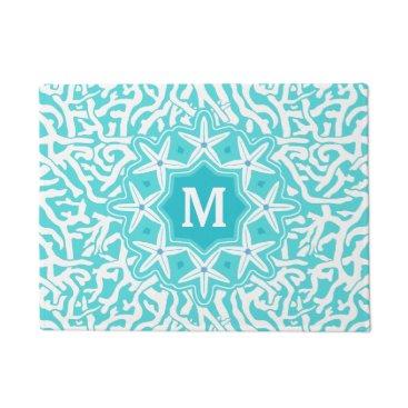 Beach Themed Beach Coral Reef Starfish Monogram in Aqua Blue Doormat