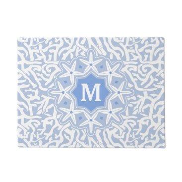 Beach Themed Beach Coral Reef Starfish Monogram in Gray Blue Doormat