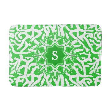 Beach Themed Beach Coral Reef Starfish Monogram in Lime Green Bathroom Mat