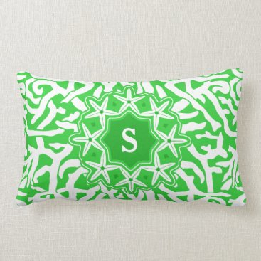 Beach Themed Beach Coral Reef Starfish Monogram in Lime Green Lumbar Pillow