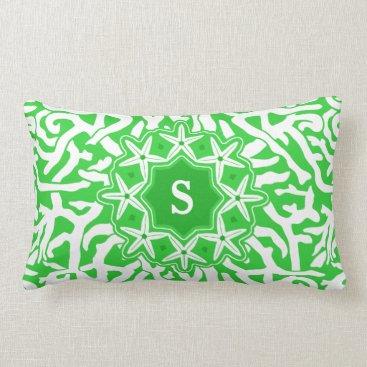Beach Themed Beach Coral Reef Starfish Monogram in Lime Green Lumbar Pillow