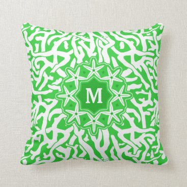 Beach Themed Beach Coral Reef Starfish Monogram in Lime Green Throw Pillow