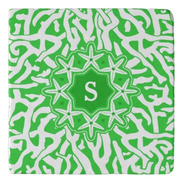 Beach Themed Beach Coral Reef Starfish Monogram in Lime Green Trivet