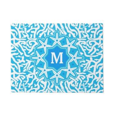 Beach Themed Beach Coral Reef Starfish Monogram in Sea Blue Doormat