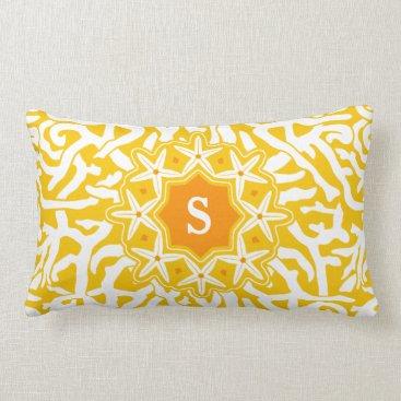 Beach Themed Beach Coral Reef Starfish Monogram in Sunny Yellow Lumbar Pillow