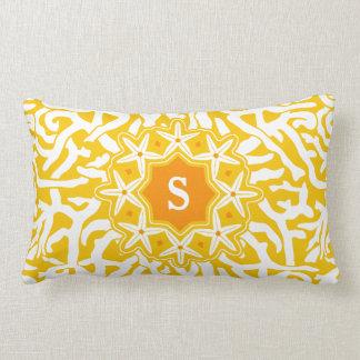 Beach Coral Reef Starfish Monogram in Sunny Yellow Pillows