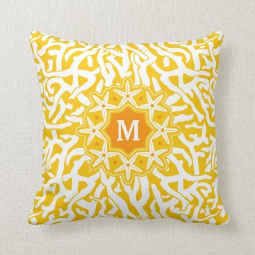 Beach Themed Beach Coral Reef Starfish Monogram in Sunny Yellow Throw Pillow