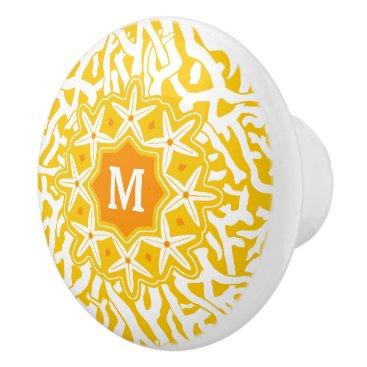 Beach Themed Beach Coral Reef Starfish Monogram Sunny Yellow Ceramic Knob