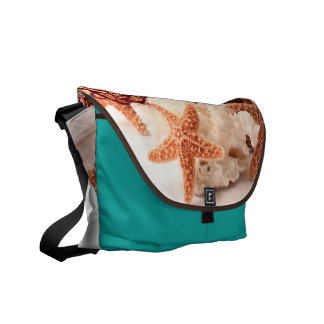 Beach Coral Star Fish Sand Ocean Bag Tote Purse Courier Bag