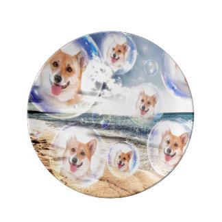 Beach Corgis Plate