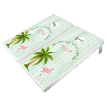 Beach Themed Beach Cottage Flamingo Custom Cornhole Set