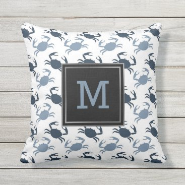 Beach Themed Beach Cottage Nautical Blue Crabs Pattern Monogram Throw Pillow