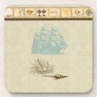Beach Cottage Nautical Map Vintage Rosette Ship Beverage Coaster