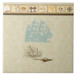 Beach Cottage Nautical Map Vintage Rosette Ship Ceramic Tile