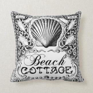 beach cottage with sea shells black_white cushion throw pillow