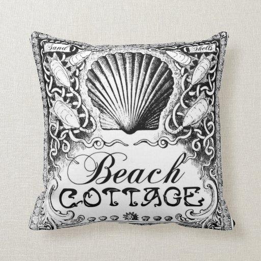 beach cottage with sea shells black_white cushion throw pillow Zazzle