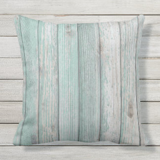 Beach Cottage Wood Outdoor Pillow