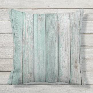 Beach Cottage Wood Outdoor Pillow