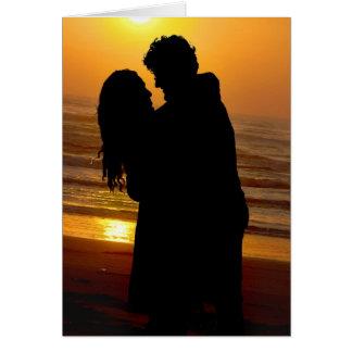 beach couple embrace card