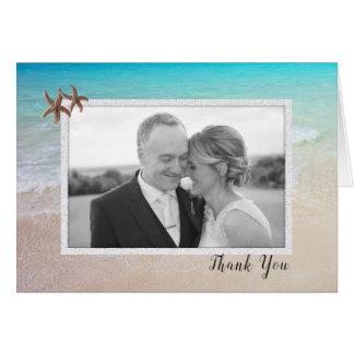 Beach Couple Photo Wedding Thank You Note Card