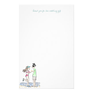 Beach Couple Thank You Note Paper