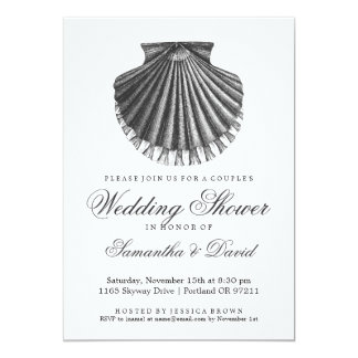 Beach Couple's Wedding Shower Scallop Shell Charco Card