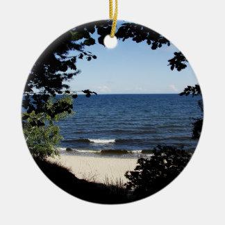 Beach cove ceramic ornament