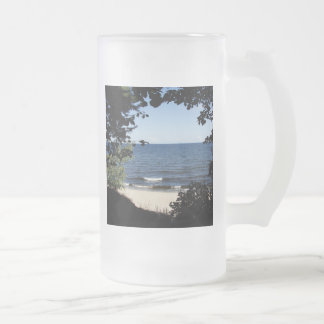 Beach cove frosted glass beer mug